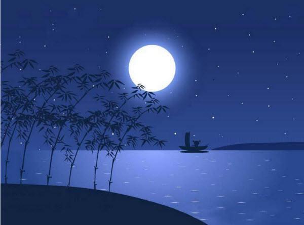 古代诗人赏月简笔画
